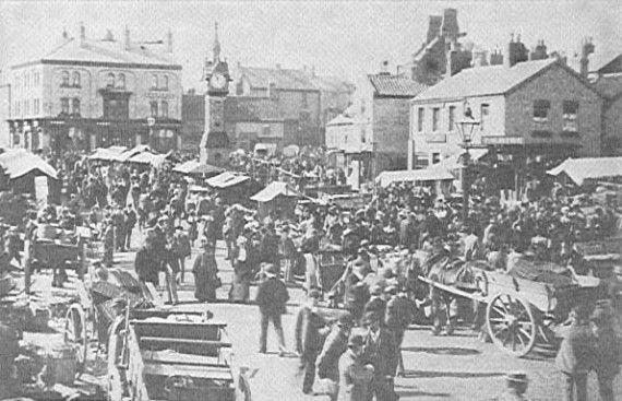historic image of market place at thirsk