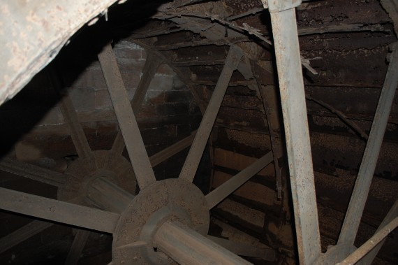 iron spokes of waterwheel
