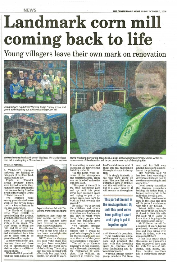 newspaper article featuring local school children at warwick bridge corn mill