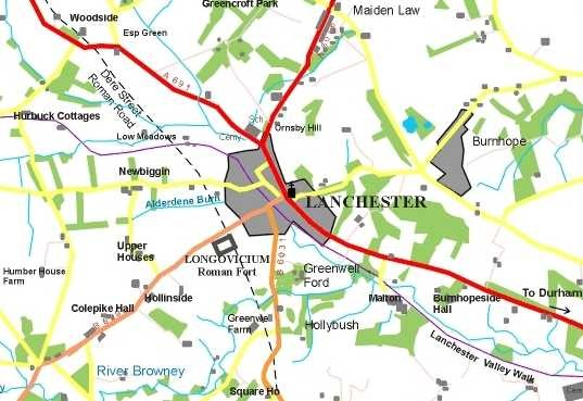 map showing lanchester