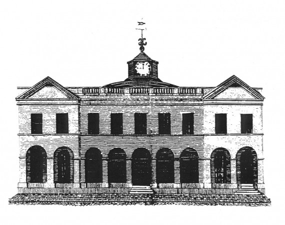 drawing of Exchange Building in 1817