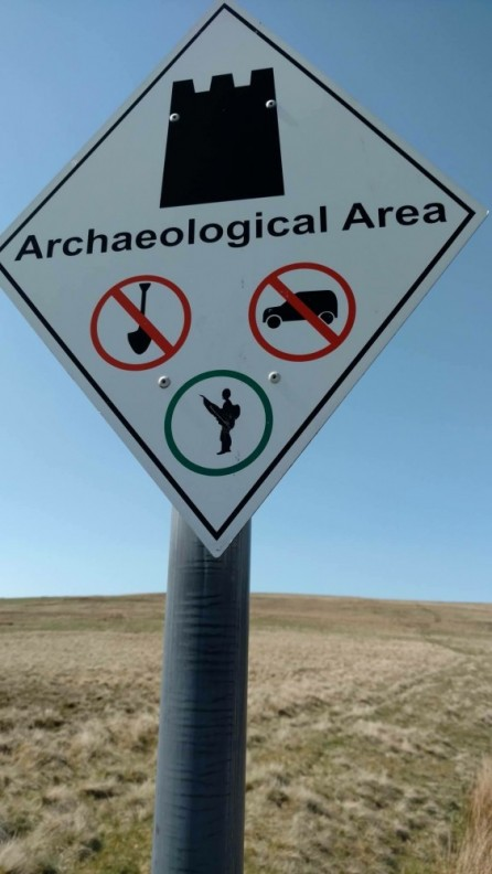 road sign warning of archaeology below ground