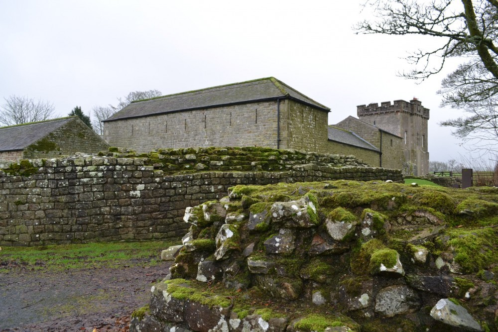 farmbuilding and roman wall remains