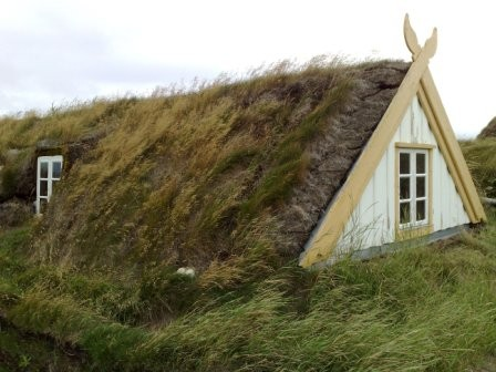 turf roofed house