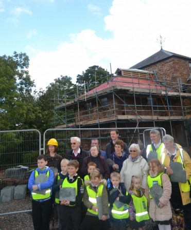 Warwick Bridge Primary School pupils attending topping out ceremony at Warwick Bridge Mill