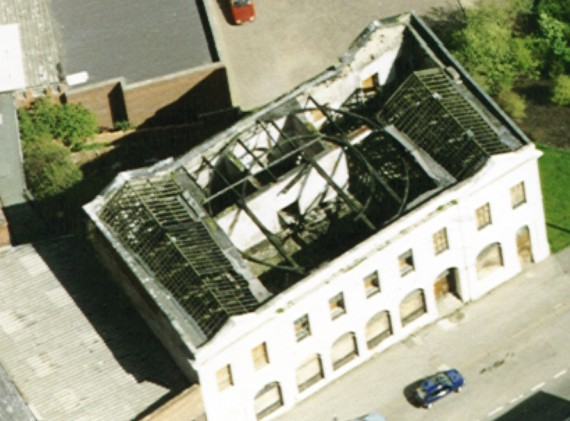 aerial view of building shell..