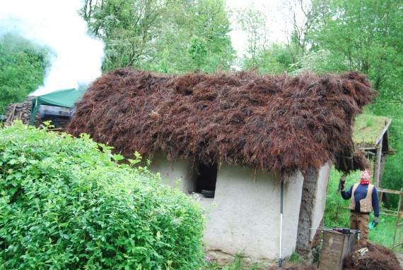 completed dabbin with thatched roof