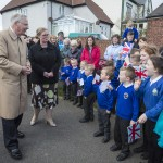 children meeting Royal Visitor at their school