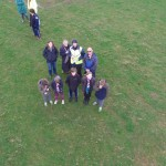 group watching drone