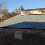 detail of new slating on roof