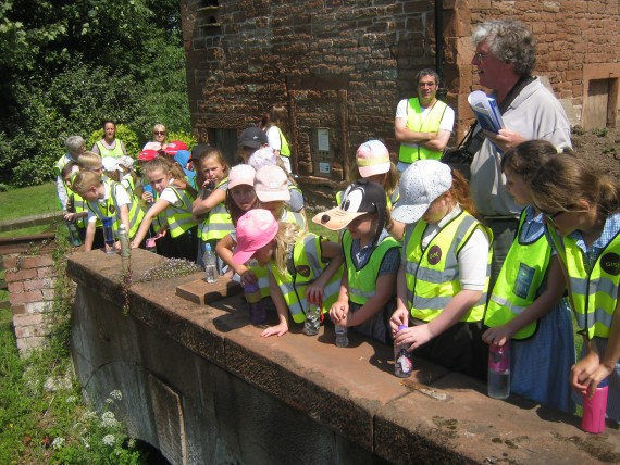 children looking at millrace